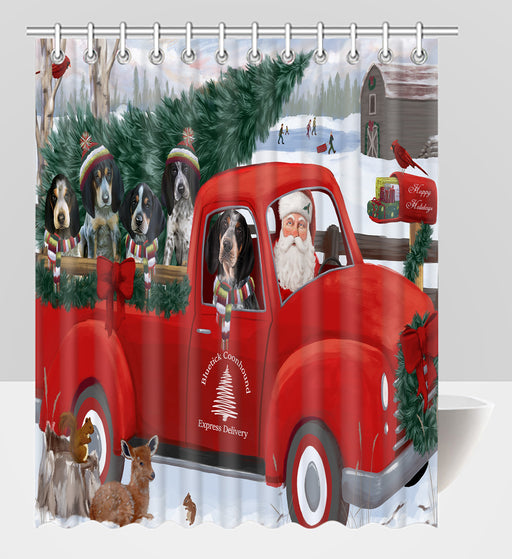 Christmas Santa Express Delivery Red Truck Bluetick Coonhound Dogs Shower Curtain
