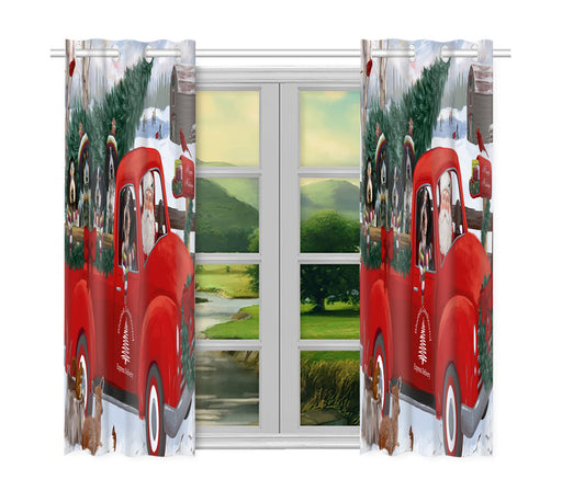 Christmas Santa Express Delivery Red Truck Bluetick Coonhound Dogs Window Curtain
