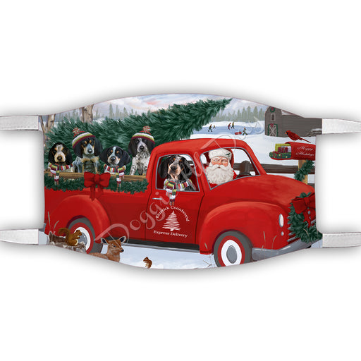 Christmas Santa Express Delivery Red Truck Bluetick Coonhound Dogs Face Mask FM48418