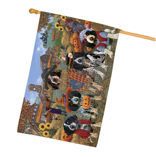 Halloween Round Town And Fall Pumpking Scarecrow Both Bluetick Coonhound Dogs Garden Flag GFLG65577