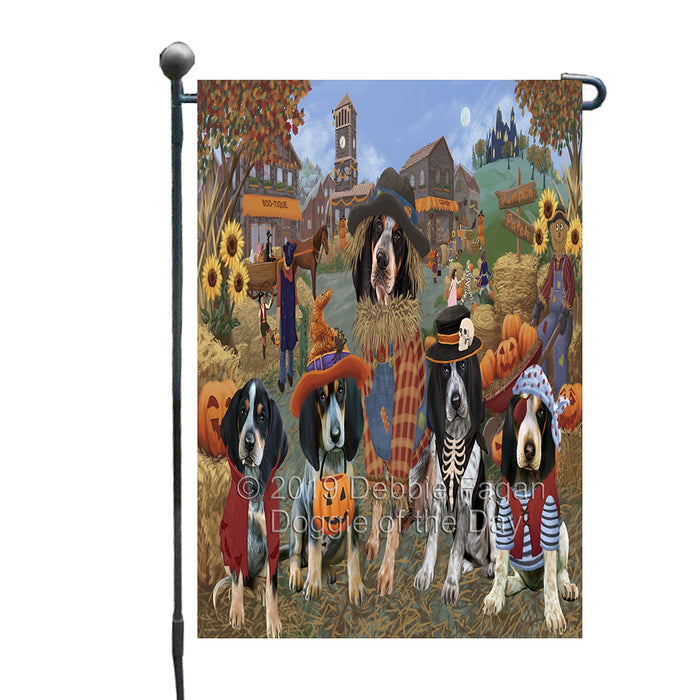 Halloween 'Round Town And Fall Pumpkin Scarecrow Both Bluetick Coonhound Dogs Garden Flag GFLG65577