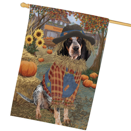 Halloween Round Town And Fall Pumpking Scarecrow Both Bluetick Coonhound Dogs Garden Flag GFLG65638