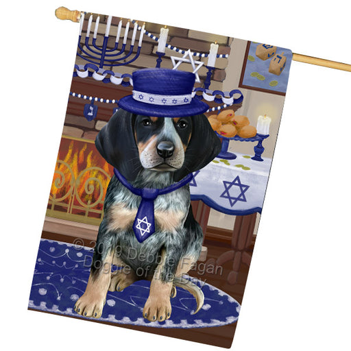 Happy Hanukkah Family and Happy Hanukkah Both Bluetick Coonhound Dog Garden Flag GFLG65699