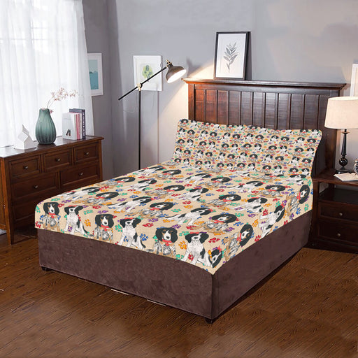 Rainbow Paw Print Bluetick Coonhound Dogs Red 3-Piece Bedding Set