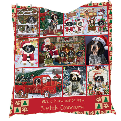 Love is Being Owned Christmas Bluetick Coonhound Dogs Quilt