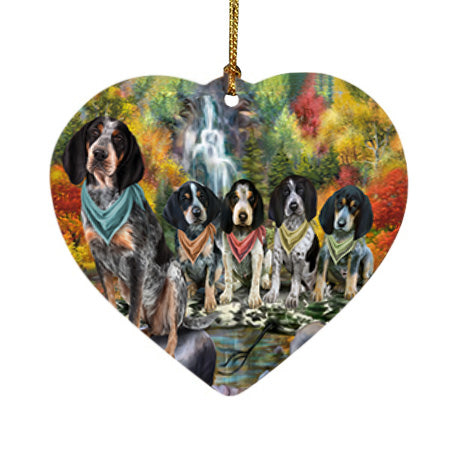 Scenic Waterfall Bluetick Coonhounds Dog Heart Christmas Ornament HPOR51836