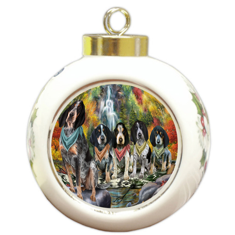 Scenic Waterfall Bluetick Coonhounds Dog Round Ball Christmas Ornament RBPOR51836