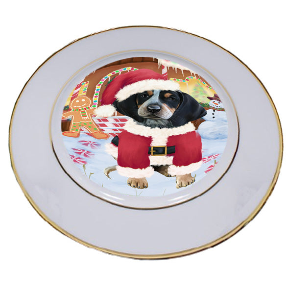 Christmas Gingerbread House Candyfest Bluetick Coonhound Dog Porcelain Plate PLT54547