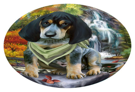 Scenic Waterfall Bluetick Coonhound Dog Oval Envelope Seals OVE63344
