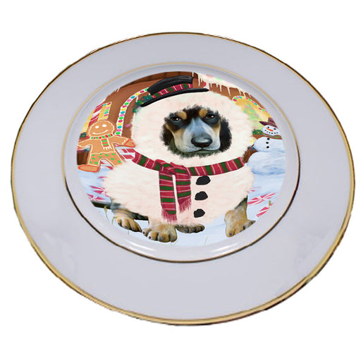 Christmas Gingerbread House Candyfest Bluetick Coonhound Dog Porcelain Plate PLT54548
