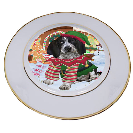 Christmas Gingerbread House Candyfest Bluetick Coonhound Dog Porcelain Plate PLT54550