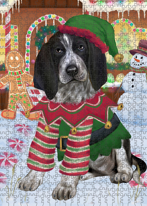 Christmas Gingerbread House Candyfest Bluetick Coonhound Dog Puzzle with Photo Tin PUZL93004