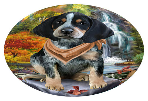 Scenic Waterfall Bluetick Coonhound Dog Oval Envelope Seals OVE63356