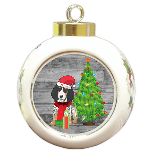 Custom Personalized Bluetick Coonhound Dog With Tree and Presents Christmas Round Ball Ornament