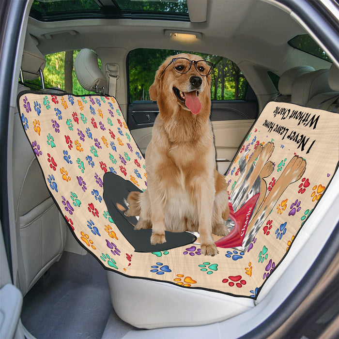 Personalized I Never Leave Home Paw Print Bluetick Coonhound Dogs Pet Back Car Seat Cover