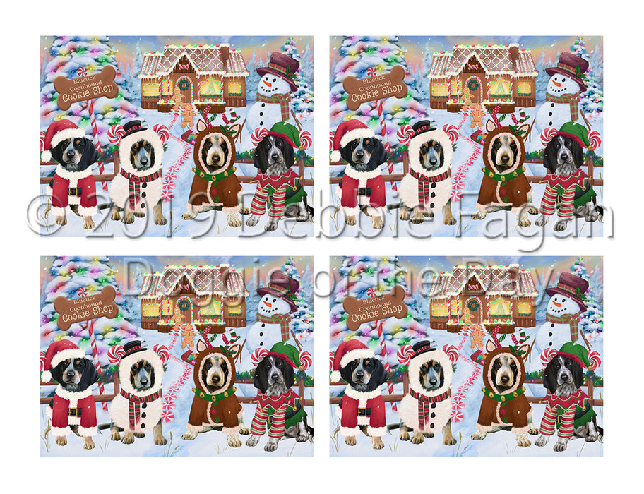 Holiday Gingerbread Cookie Bluetick Coonhound Dogs Placemat