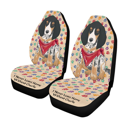 Personalized I Never Leave Home Paw Print Bluetick Coonhound Dogs Pet Front Car Seat Cover (Set of 2)