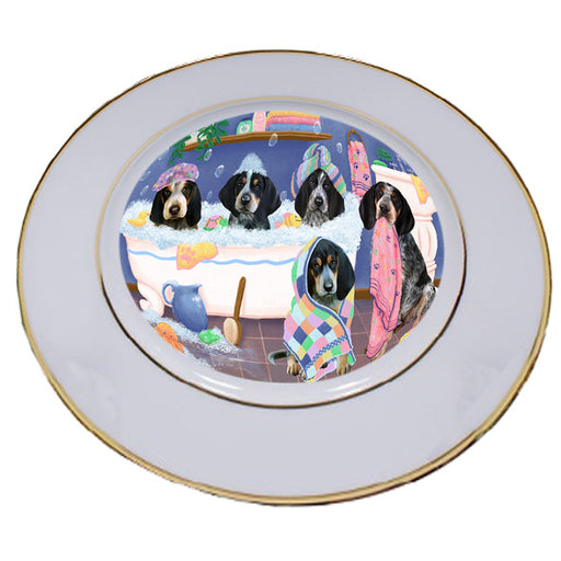Rub A Dub Dogs In A Tub Bluetick Coonhounds Dog Porcelain Plate PLT55118