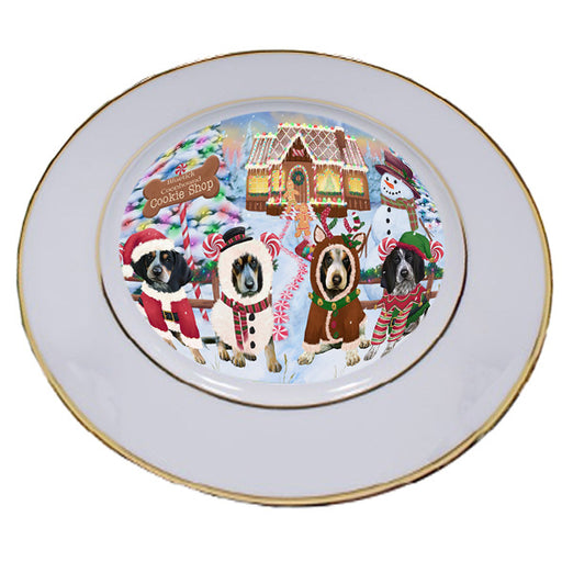 Holiday Gingerbread Cookie Shop Bluetick Coonhounds Dog Porcelain Plate PLT54460