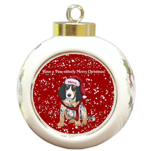 Custom Personalized Pawsitively Bluetick Coonhound Dog Merry Christmas Round Ball Ornament