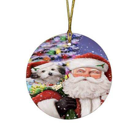 Santa Carrying Bolognese Dog and Christmas Presents Round Flat Christmas Ornament RFPOR55846