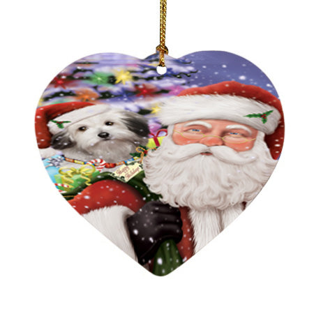 Santa Carrying Bolognese Dog and Christmas Presents Heart Christmas Ornament HPOR55846