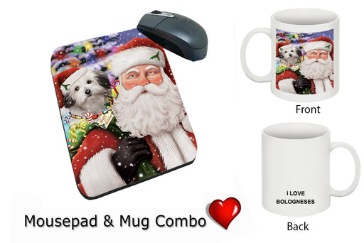 Santa Carrying Bolognese Dog and Christmas Presents Mug & Mousepad Combo Gift Set MPC50883