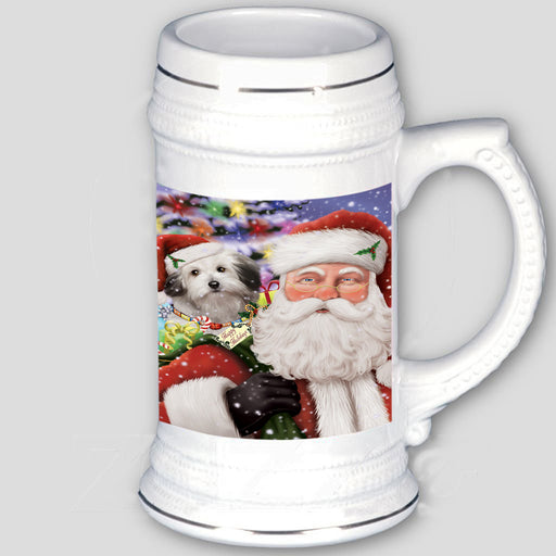 Santa Carrying Bolognese Dog and Christmas Presents Beer Stein BST56587