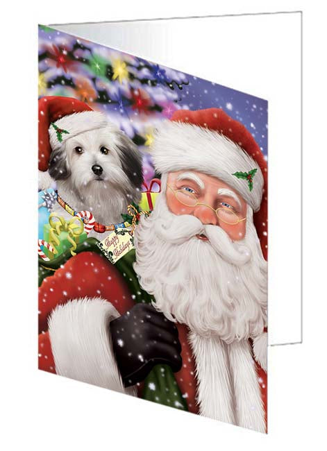 Santa Carrying Bolognese Dog and Christmas Presents Greeting Card GCD70985