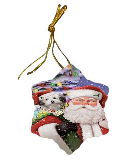 Santa Carrying Bolognese Dog and Christmas Presents Star Porcelain Ornament SPOR55846