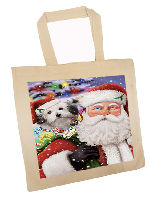 Santa Carrying Bolognese Dog and Christmas Presents Tote TTE55490