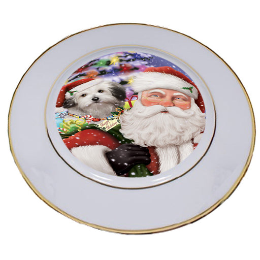 Santa Carrying Bolognese Dog and Christmas Presents Porcelain Plate PLT53839