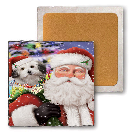 Santa Carrying Bolognese Dog and Christmas Presents Set of 4 Natural Stone Marble Tile Coasters MCST50490