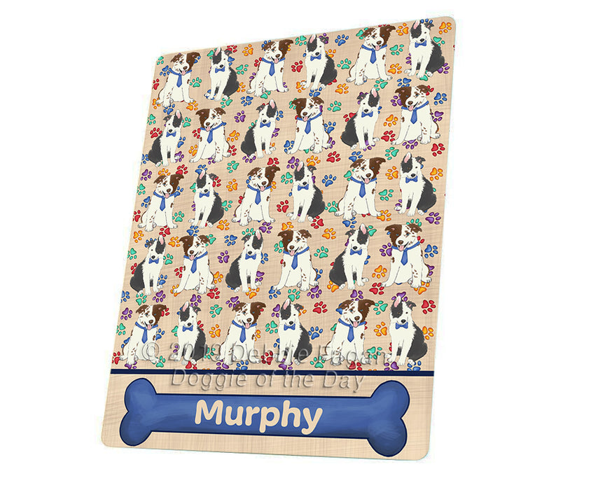 Rainbow Paw Print Border Collie Dogs Blanket BLNKT135561
