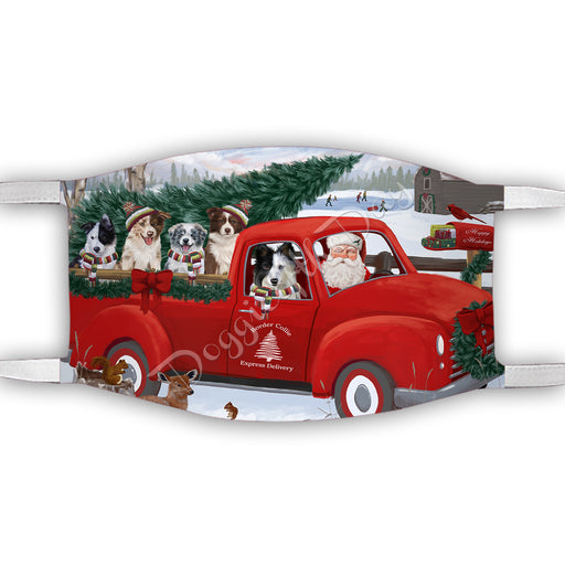 Christmas Santa Express Delivery Red Truck Border Collie Dogs Face Mask FM48419