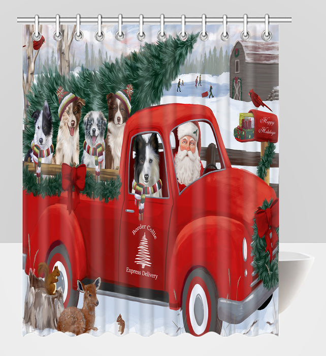 Christmas Santa Express Delivery Red Truck Border Collie Dogs Shower Curtain