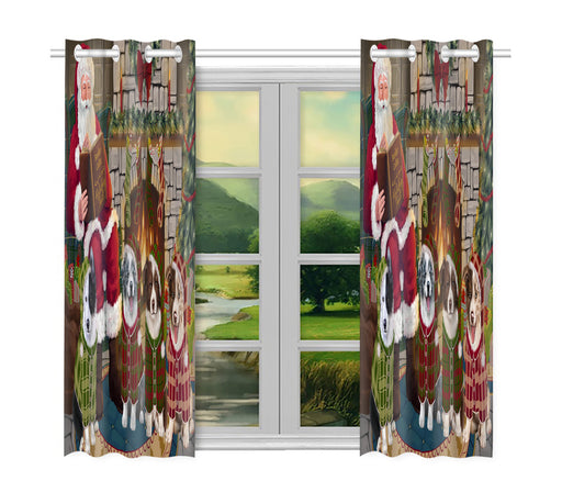 Christmas Cozy Holiday Fire Tails Border Collie Dogs Window Curtain