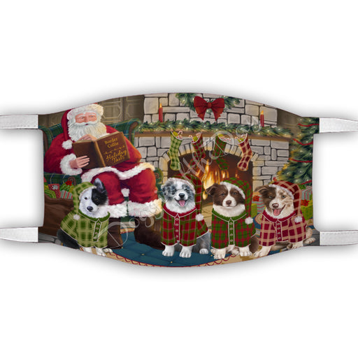 Christmas Cozy Holiday Fire Tails Border Collie Dogs Face Mask FM48613