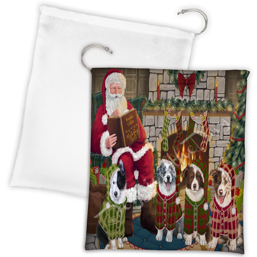 Christmas Cozy Holiday Fire Tails Border Collie Dogs Drawstring Laundry or Gift Bag LGB48480