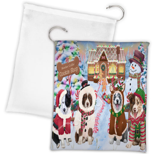 Holiday Gingerbread Cookie Border Collie Dogs Shop Drawstring Laundry or Gift Bag LGB48577