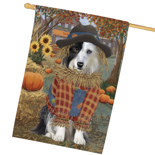 Halloween Round Town And Fall Pumpking Scarecrow Both Border Collie Dogs Garden Flag GFLG65639