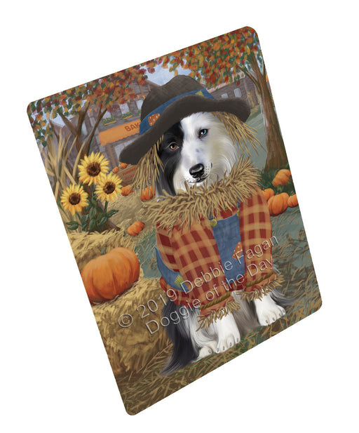 "Halloween 'Round Town And Fall Pumpkin Scarecrow Both Border Collie Dogs Magnet MAG77248 (Mini 3.5"" x 2"")"