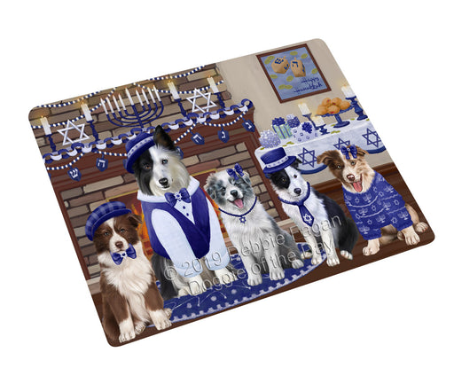 "Happy Hanukkah Family and Happy Hanukkah Both Border Collie Dogs Magnet MAG77599 (Mini 3.5"" x 2"")"