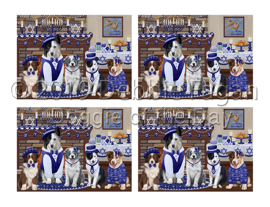 Happy Hanukkah Family Border Collie Dogs Placemat