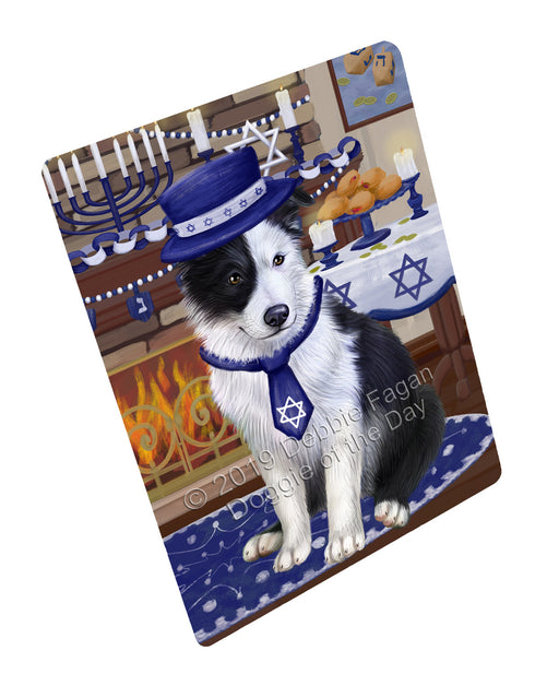 "Happy Hanukkah Family and Happy Hanukkah Both Border Collie Dog Magnet MAG77431 (Mini 3.5"" x 2"")"