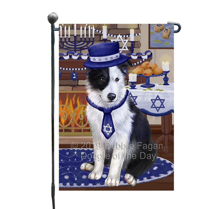 Happy Hanukkah Family and Happy Hanukkah Both Border Collie Dog Garden Flag GFLG65700