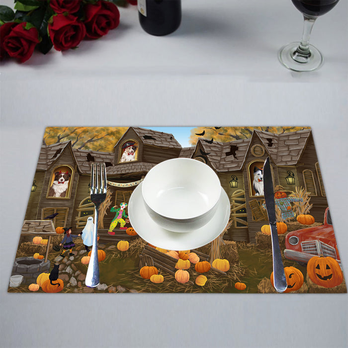 Haunted House Halloween Trick or Treat Border Collie Dogs Placemat
