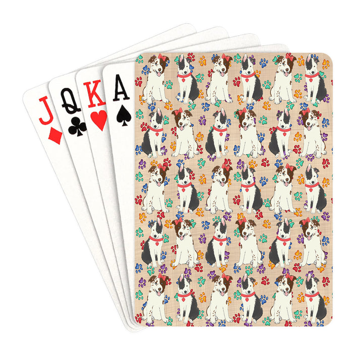 Rainbow Paw Print Border Collie Dogs Red Playing Card Decks