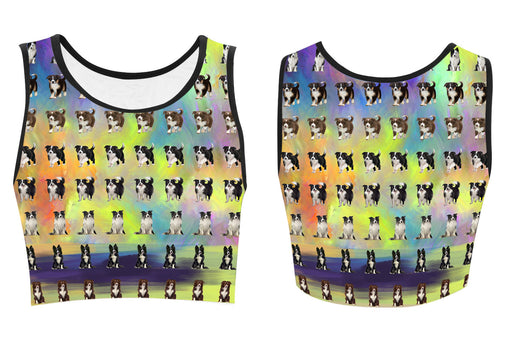 Paradise Wave Border Collie Dogs Women's Crop Top
