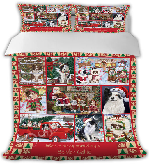 Love is Being Owned Christmas Border Collie Dogs Bed Comforter CMFTR48833